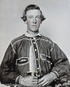 Young Confederate Soldier wearing Battle Shirt and proudly displaying Bowie Knife. *s*