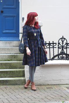 red hair, mahogany, burgundy, winter, tartan dress, boots, fashion, style