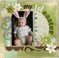 1st easter, circles, photo layouts, colors, easter scrapbooking, color pallets, easter scrapbook layouts, curv, scrapbook pages