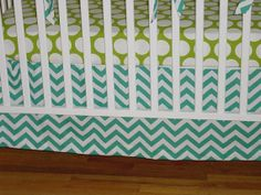 "Crib Skirt ""Design Your Own"" Custom Baby Bedding Straight Skirt Get in grey color"
