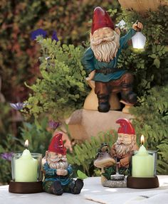 #PartyLite Gnome candle holders and solar lantern.