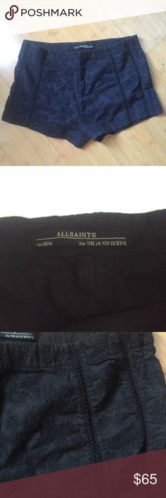"""All Saints Spitalfields Crochet High Waisted Short This is a pair of All Saints Spitalfields black high waisted shorts. Size 10. 100% cotton. Waist 32"""" rise 13"""" inseam 2"""". Zips on the sides. No flaws. All Saints Shorts"""