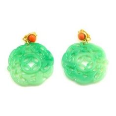 Kenneth Jay Lane Jade Carved Deco Filigree Clip On Earrings. Shipping Included