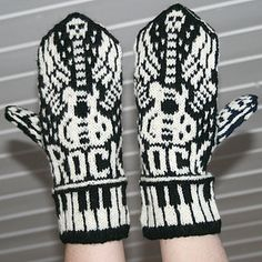 Knitting Pattern for Let's Rock Mittens = Norwegian style mittens with flaming guitar, skulls, and keyboard cuffs. Designed by Jorid Linvik, this is one of the 45 patterns in Jorid Linvik's Big Book of Knitted Mittens: 45 Distinctive Scandinavian Patterns Knitting Charts, Loom Knitting, Knitting Socks, Hand Knitting, Knitting Patterns, Knitting Machine, Hat Patterns, Vintage Knitting, Stitch Patterns