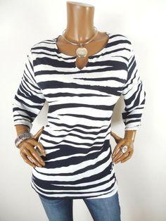 93bc94b756757e CHICO S Sz 2 Womens Top L Stretch Shirt Zebra Print White Dk Navy Casual 3 4  Slv  Chicos  Blouse  Casual