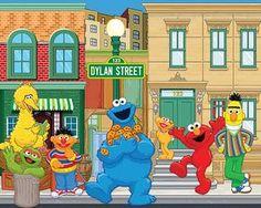 Sesame Street fiesta telón de fondo -. JPEG de archivos vía correo electrónico entrega - imprimir su propia