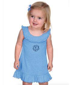 Azure Monogram Yoke Dress - Infant Toddler & Girls