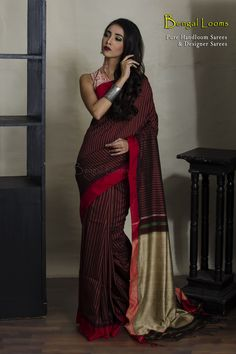 Khadi Soft Cotton Saree With Stitch Work in Maroon, Red and Beige