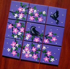 purple paintings of birds  paintings with 2 birds by SheerJoy