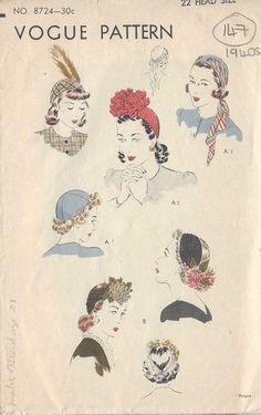 "1940s Vintage VOGUE Sewing Pattern HAT S:22"" (147) | eBay"
