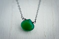 Large Kelly Green Chalcedony Necklace Briolettes by LoveGemStudio
