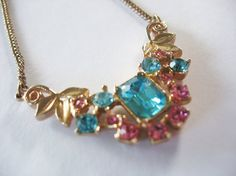 Vintage Rhinestone Swag Necklace Pink and Turquoise Gold Leaves Brass Chain
