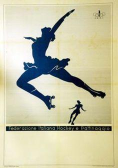Federazione Italiana Hockey e Pattinaggio (Blue) Blues Artists, Italy Fashion, Freestyle, Skating Dresses, Skate Park, Roller Skating, Figure Skating, Vintage Posters, Silhouette Cameo