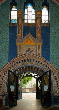 Zoo. Entrance to the  Elephant House. Budapset, HUNGARY