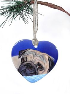 Pug Ornament Pug Christmas Ornament Pug Stocking by ArtByJulene
