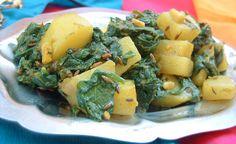Recette indienne en vidéo Aloo Palak Bonjour et bienvenue dans ma cuisine . Aujourd'hui on va faire « Aloo palak », des pommes de terre aux épinards . Pour cette recette indienne il nous faut : 200 g de jeunes pousses d'épinards 1 tomate coupée en dés...