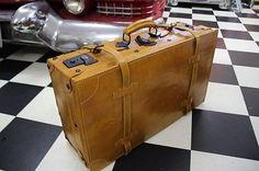 Nostalgischer Koffer Autokoffer Lederkoffer Oldtimer 60cm wunderschön 3