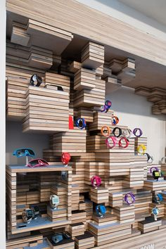 shop display Love this creative display on blocks of wood!