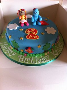 In the night garden birthday cake with sugar model upsy daisy, iggle piggle and haahoos