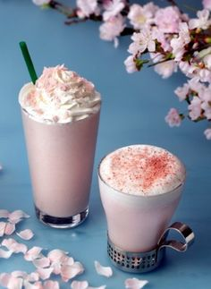 """Starbucks Japan's """"Sakura Cream Frappuccino"""" and """"Sakura Steamer"""".  Omg why didn't they release these here in the US????"""