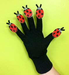 Ladybug Hand Puppet - Printable from Sunflower Storytime