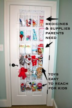 Shoe racks are great in kids' rooms!  The low slots are perfect for toys and stuffed animals where the kids can reach, and the upper slots can hold medicines (easy access in the middle of the night!) and things parents need.  Make use of that unused space on the back of the door for a less-cluttered room!!  #mom tips #harvardhomemaker
