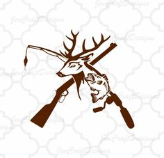 Deer and Fish, riffle. Fishing pole iSVG, Hunting Fishing Svg, eps, dxf and PNG Format for Cricut and Silhouette, Hunting Fishing by JenCraftDesigns on Etsy