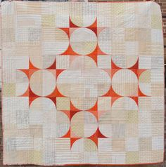 "This quilt - Spin - is just under 60"" square and the pattern my own,          called Twirl.                          Similar to Drunkards Path..."