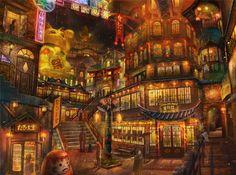 City Anime Wallpapers Imagen Scenery Original Art http://epicwallcz.blogspot.com/ Ciudad Montain Picture (https://shorte.st/es/ref/f3865e4100)