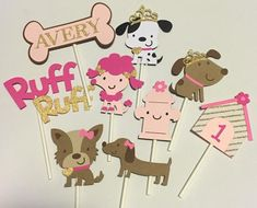 12 Girl Puppy Cupcake Toppers; Puppy Birthday Party; Puppy Party  Decorations; Puppy Dog Party; Dog Cupcake Toppers; Pink Puppy  Decorations #catchmyparty #partyideas #puppydogparty #dogcupcakes #puppydogcupcaketoppers