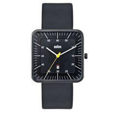 Braun Square Analog Watch with Date - Black