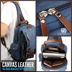 CANVAS LEATHER STRAPS SLING BAGS 100% Genuine Canvas Sling Bag with Leather Straps Size approximately 9.5″ L x 3.5″ D x 12.5″ H inches (24cm L x 9cm D x 32cm H) Blue color Weight: 0.82KG. 1.8 lbs Long strap be able to adjust length freely, this sling bag may do three uses: chest bag, messenger bag, backpack. Livid hardware Zipper top closure A zippered pocket, a open pocket and a zipper pocket on the cover in the front, one pocket on beside Inside is one compartment nicely lined with durable…