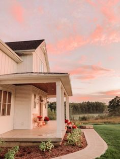"""""""I wanted our porch to feel like a true country farmhouse,"""" Allie explains. """"I love the mix between whites, woods, and metals."""" Allie selected the Wilcox Vented Gooseneck Light for her porch. Photo Courtesy of Allie Boss ( House With Land, Up House, Cottage House Plans, Cottage Homes, Farm House Porch, Country Home Exteriors, Country Homes, Casa Patio, Loft"""