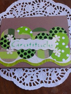 Thank you card...punch circles & flowers...stenciled word..
