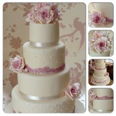 Dusky pink wedding cake vintage Northern Ireland wedding cakes