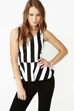 Striped Peplum Top $30