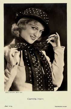 """Ethereally blonde Camilla Horn (1903 - 1996) was a German dancer and film star. Her breakthrough role was Gretchen in the silent film classic Faust (1926, Friedrich Wilhelm Murnau). She also starred in some Hollywood films of the late 1920's and in a few British and Italian productions."" #vintage #actress #1930s #fashion #polka_dots"