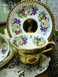 Pansies Teacup Tea Cup and Saucer ~ Sarah's Country Kitchen ~