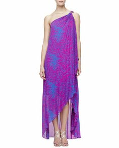 Printed One-Shoulder Gown by Halston Heritage at Neiman Marcus.