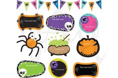 Check out Halloween Label Clip Art by YenzArtHaut on Creative Market