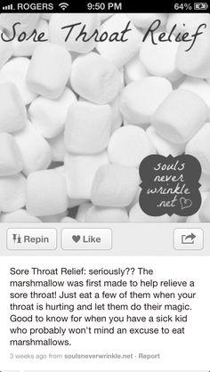 Marshmallows for sore throat