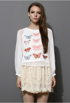 01006eb527 Butterfly Print Top with Chiffon Sleeves Indie Fashion
