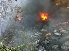 Combaten incendio en estacionamiento El Limón. Km ...