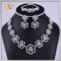 copper plated crystal rhinestone necklace earrings set jewelry sets for anniversary wedding gift