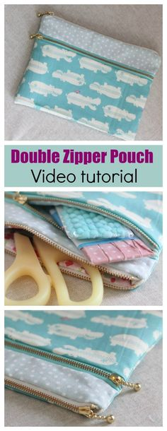 Double zipper pouch – video Ah-ha moment! Great video tutorial that shows how to sew this double zipper pouch. So easy now I've got my head around it. Easy Sewing Projects, Sewing Projects For Beginners, Sewing Hacks, Sewing Tutorials, Sewing Tips, Tutorial Sewing, Quilting Projects, Sewing Crafts, Sewing Patterns Free