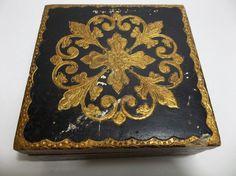 Vintage Italian Florentine Toleware Wood Jewelry TRINKET BOX Gold BLACK #HollywoodRegency #Florentia