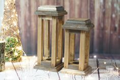 Set of TWO Rustic Lanterns. Dark Stained Finish   Appox. Measurments: Tall Lantern: 12 x 5 Small Lantern: 10 x 5    (Photo props not included)  ****************************************  SHIPPING AND PRODUCTION:  Please see SHOP ANNOUNCEMENT or SHIPPING POLICIES for updated Production and Shipping times.  ***************************************** Whatever your dream for a rustic look, you are sure to find something here to help you along. From real tree bark candles to pictures frames, wall…