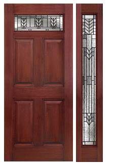 MAHOGANY SERIES 6/8: Six Panel Door w/ TOP LITE: Six Panel Full Sidelite: W/ Spring Patina