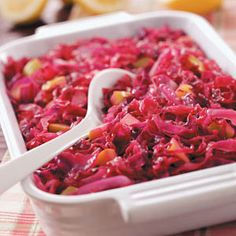 Red Cabbage Casserole Recipe - German red cabbage - very good and easy! (use red wine vinegar or balsamic vinegar instead of the jelly noted) Amish Recipes, Cooking Recipes, German Recipes, Easy Recipes, Veggie Dishes, Vegetable Recipes, Red Cabbage Recipes, Oktoberfest Food, Cabbage Casserole