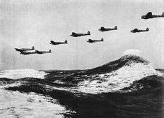 world war two bombers | German bombers fly low over rough seas on the way to Britain. About ...